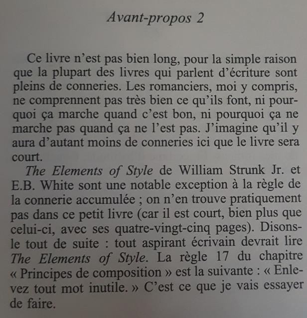 Texte issu du livre de Stephen King-Ecriture, mémoires d'un métier