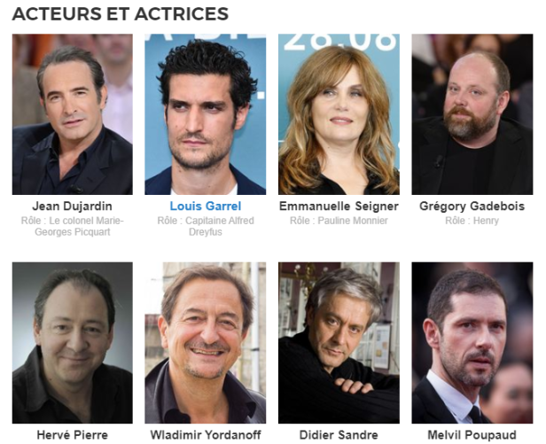 Casting du film J'accuse de Roman Polanski